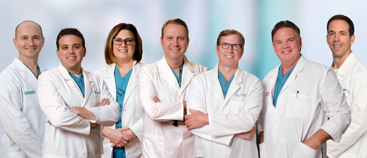 The seven doctors who make up McLeod's vascular surgery team in Florence, the Pee Dee and across the Grand Strand