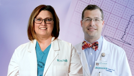 Dr. Eva Rzucidlo, a McLeod Vascular Surgeon, and Dr. John Patton, a McLeod Cardiologist, who both offer cardiac care in Cheraw