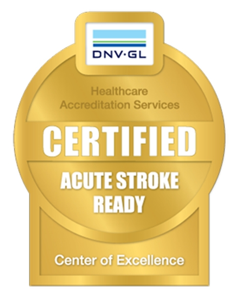 A logo symbolizing McLeod Health being named an Acute Stroke Ready Stroke center of excellence by DNV GL Healthcare