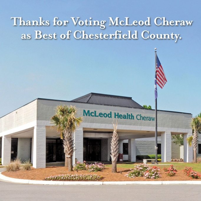 The outside of the McLeod Health Cheraw office with
