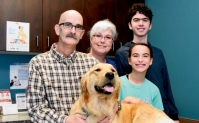 Florence veterinarian Allen Causey poses with his family after receiving nutritional assistance through the McLeod Health Foundation