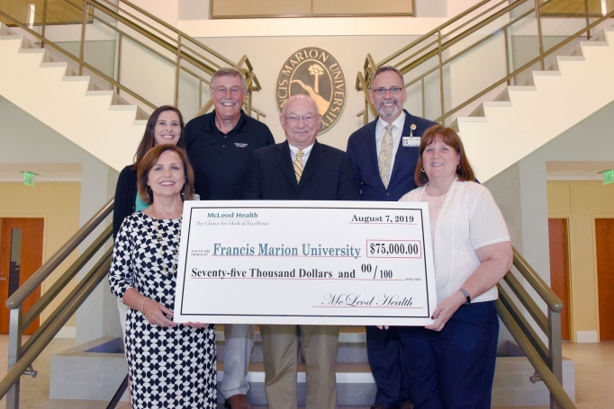A donation for $75,000 is presented from McLeod Health to the Francis Marion University Nursing Program