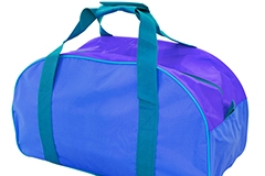 A blue, purple and green duffle bag