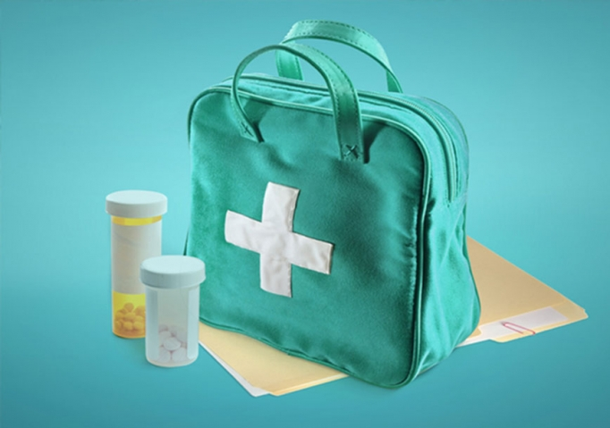 Medical supplies, prescription pills, and medical documents, all of which are important to have ready in case of an emergency like a hurricane