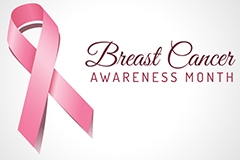 A pink breast cancer awareness ribbon and text saying breast cancer awareness month