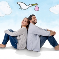A couple sitting together with a stork drawn in the background