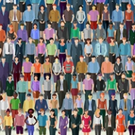 An illustration showing rows of people of all different kinds.
